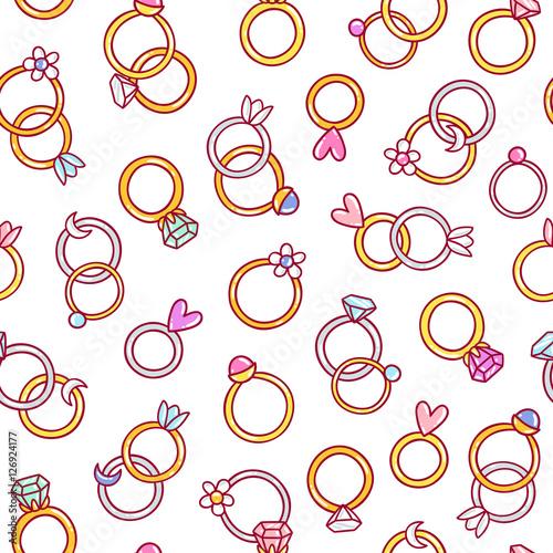 Materiał do szycia Wzór bezszwowe błyszczący diamentowych pierścieni