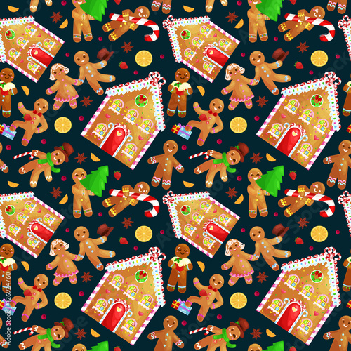 Materiał do szycia seamless pattern christmas cookies gingerbread man and girl near sweet house decorated with icing dancing and having fun in a cap with the Christmas tree and gifts, xmas sweet food vector illustration