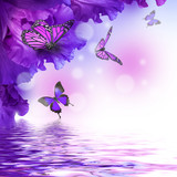 Amazing butterfly fairy of flowers, hydrangeas and iris. - 126928117