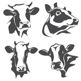 cow head portrait, set of stylized vector symbols