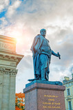 Monument to Field Marshal Prince Barclay de Tolly on the background of the Kazan Cathedral in St Petersburg, Russia