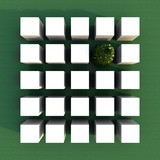 3d illustration rendering of multiple white cubes square grid with a Christmas Tree over green background