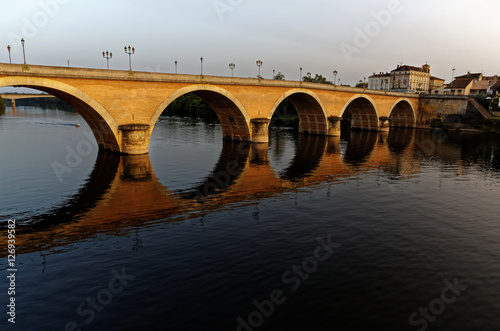 Poster Coucher de soleil pont de Bergerac