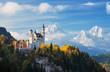 Leinwanddruck Bild - Famous Neuschwanstein Castle with scenic mountain landscape near Füssen, Bavaria, Germany