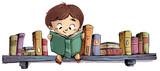 niño leyendo en entanteria de libros - 126944560