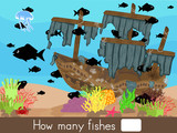 Counting game. How many fishes - Worksheet for education