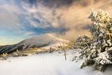 Śnieżka w Karkonoszach - zaśnieżony szczyt górski zimą - 126954918