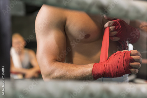Poster Athletic boxer preparing for fight