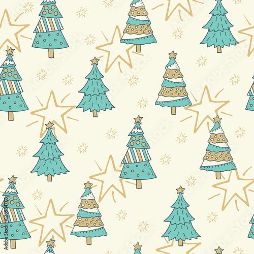 Cotton fabric Christmas and New Year seamless pattern background