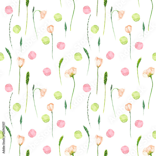 Seamless floral pattern with pink flowers and floral elements hand drawn in watercolor on a white background - 126965107