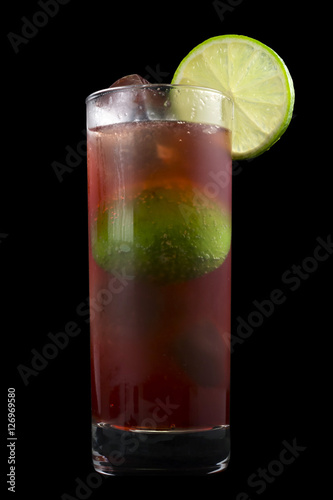 El Diablo Drink, consisting of tequila, creme de cassis, ginger ale and lime juice Poster