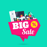 big sale electronics household appliances banner design