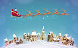 Fototapety Christmas, vector illustration. Santa Claus rides in sleigh pulled by reindeer over city