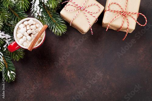 Aluminium Chocolade Christmas background with hot chocolate