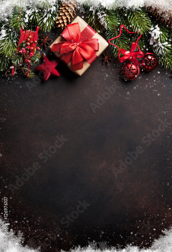 Christmas background with tree and decor - 126976107
