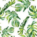 Seamless watercolor illustration of tropical leaves, dense jungle. Hand painted. Banner with tropic summertime motif may be used as background texture, wrapping paper, textile or wallpaper design. - 126979309