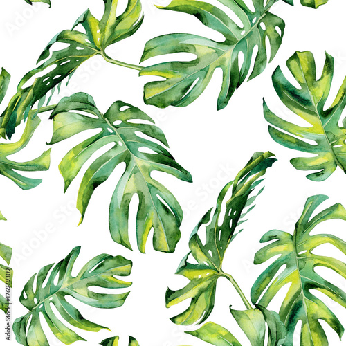 Cotton fabric Seamless watercolor illustration of tropical leaves, dense jungle. Hand painted. Banner with tropic summertime motif may be used as background texture, wrapping paper, textile or wallpaper design.