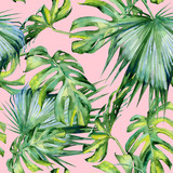 Seamless watercolor illustration of tropical leaves, dense jungle. Hand painted. Banner with tropic summertime motif may be used as background texture, wrapping paper, textile or wallpaper design. - 126979503