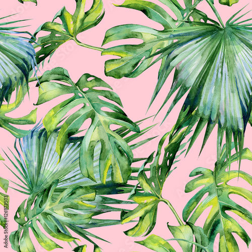 Materiał do szycia Seamless watercolor illustration of tropical leaves, dense jungle. Hand painted. Banner with tropic summertime motif may be used as background texture, wrapping paper, textile or wallpaper design.