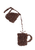Coffee Cup and Pot Made of Coffee Beans on a White Background