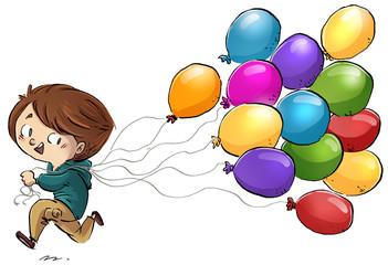 niño corriendo con globos