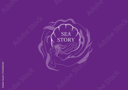 Creative marine emblem, the mermaid round shell