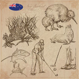 New Zealand. Pictures of Life. Vector pack. Hand drawings. - 126986768