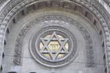 the tetragrammaton YHWH combined with the star of David, at the front of a synagogue in Buenos Aires
