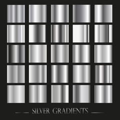 Set of silver gradients.Metallic squares collection,Vector illustration.