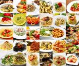 collage di differenti primi piatti di pasta della cucina italiana