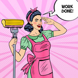 Pop Art Young Confident Housewife Woman Cleaning House with Mop. Vector illustration