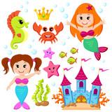 Mermaid, underwater castle and sea animals. Fish, starfish, seahorse, crab, crovn