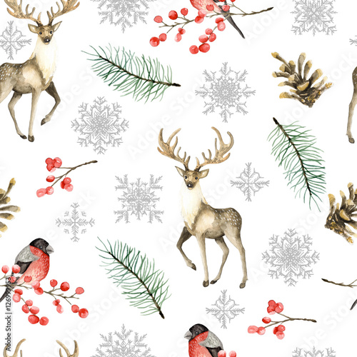 Cotton fabric Seamless Christmas pattern with deer and bullfinches. Watercolor hand drawn