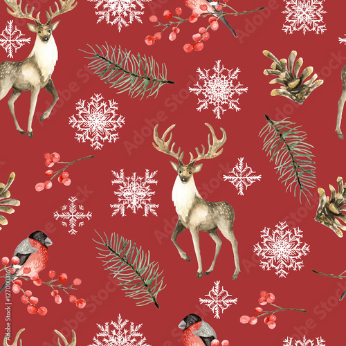 Materiał do szycia Seamless Christmas pattern with deer and bullfinches. Watercolor hand drawn