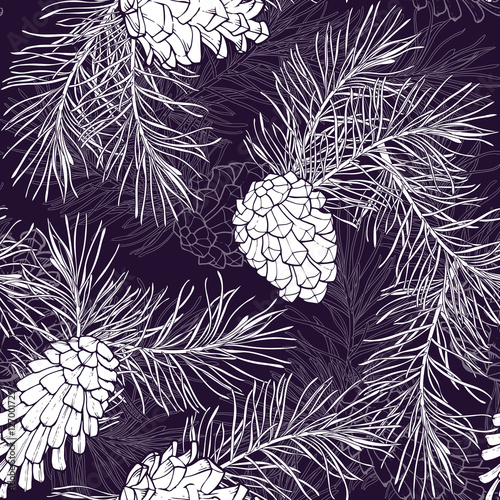 Materiał do szycia Hand-Drawn seamless pattern with pine cones and branches of coniferous evergreen tree