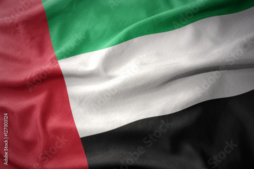 Staande foto Abu Dhabi waving colorful flag of united arab emirates.