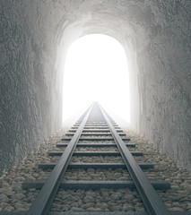 Railway tunnel with bright view
