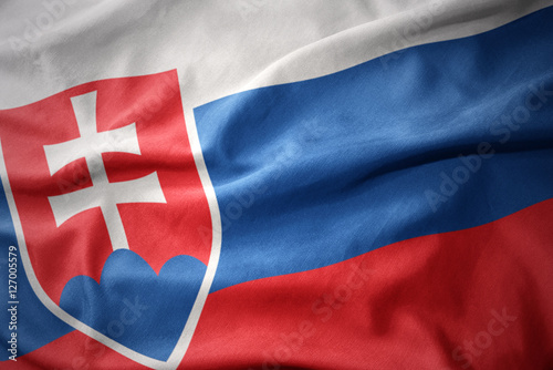 waving colorful flag of slovakia. Poster