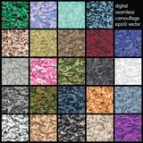 Fototapety Set of Seamless Digital Camouflage pattern vector