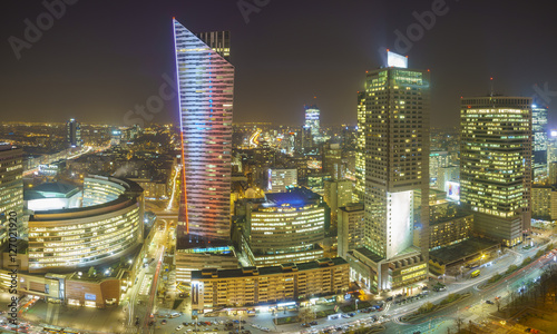 Fototapeta Warsaw city with skyscrapers at night