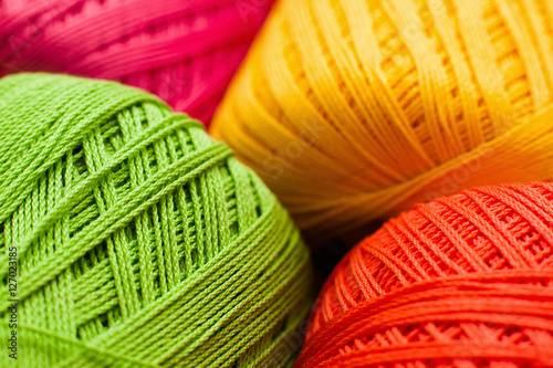 Poster Colorful knitting thread texture, handiwork backdrop