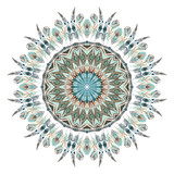 Watercolor ethnic feathers abstract mandala. - 127028735