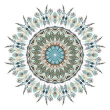 Aquarelle plumes ethniques mandala abstrait.