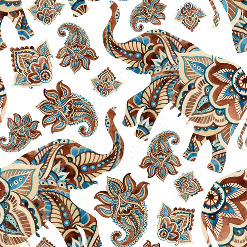 Cotton fabric Watercolor ethnic elephant with paisley elements background.