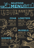 Menu seafood restaurant, food template placemat.