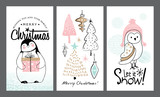 Set of Christmas cards with cute animals