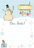 Template for Christmas letter to Santa Claus.