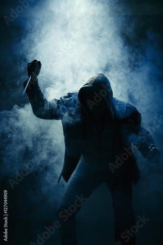 Poster Hooligan Nebel Mörder Hand braun Messer