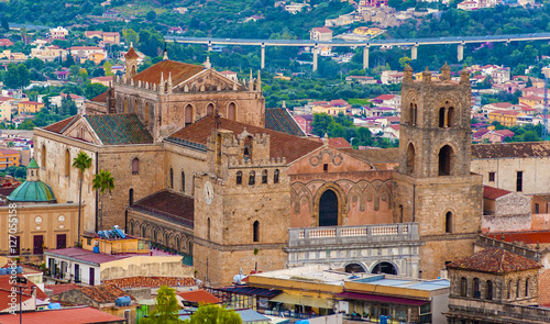 The Monreale Cathedral seen from the mountains that surround the town. Palermo. Italy
