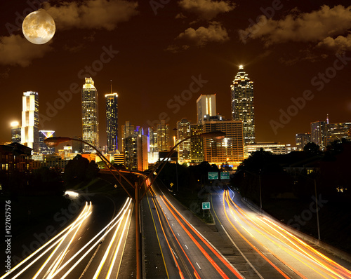 Plakat Full moon over Atlanta, Georgia, USA